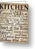 Eating Painting Greeting Cards - Simple Speak Kitchen Greeting Card by Grace Pullen