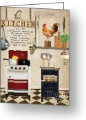 Bon Appetit Greeting Cards - Simplified Kitchen Greeting Card by Grace Pullen
