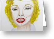 Starlet Drawings Greeting Cards - Simply Marilyn Greeting Card by Barbara Giordano