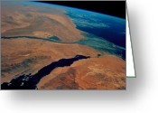 Nile River Greeting Cards - Sinai And Egypt Seen From Space Shuttle Sts-69 Greeting Card by Nasa