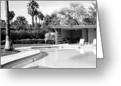 Frank Sinatra Greeting Cards - Sinatra Pool And Cabana Bw Greeting Card by William Dey