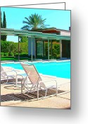 Frank Sinatra Greeting Cards - SINATRA POOL Palm Springs Greeting Card by William Dey