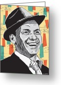Drawing Greeting Cards - Sinatra Pop Art Greeting Card by Jim Zahniser