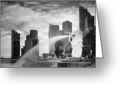 Nina Greeting Cards - Singapore Harbour Greeting Card by Nina Papiorek