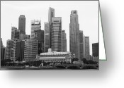 Tropical Island Photo Greeting Cards - Singapore Skyline Greeting Card by David Gardener