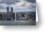 Sports Glass Greeting Cards - Singapore Swimmer Greeting Card by Nina Papiorek