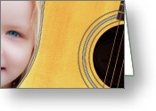 Musicians Glass Greeting Cards - Singer Songwriter Greeting Card by Bob Orsillo