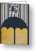 Umbrella Digital Art Greeting Cards - Singin in the Rain Greeting Card by Megan Romo