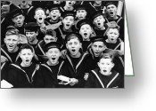 12-13 Years Greeting Cards - Singing Cadets Greeting Card by Fox Photos