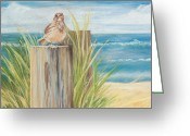Little Bird Greeting Cards - Singing Greeter at the Beach Greeting Card by Michelle Wiarda