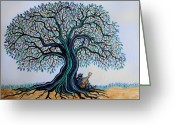 Playing The Guitar Greeting Cards - Singing under the Blues Tree Greeting Card by Nick Gustafson