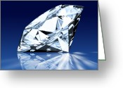 Facet Greeting Cards - Single Blue Diamond Greeting Card by Setsiri Silapasuwanchai