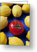 Lemons Greeting Cards - Single tomato with lemons Greeting Card by Garry Gay