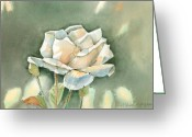 Single Rose Greeting Cards - Single  White Rose Greeting Card by Arline Wagner