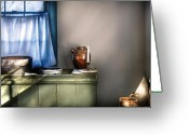 Curtain Greeting Cards - Sink - The jug and the window Greeting Card by Mike Savad