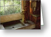 Handle Greeting Cards - Sink - Water Pump Greeting Card by Mike Savad