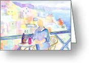 Cafe Greeting Cards - Sipping at the Santorini Cafe Greeting Card by Marsden Burnell