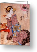 Asian Art Greeting Cards - Sipping Sondra Greeting Card by Tom Roderick