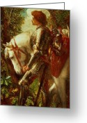 Knights Greeting Cards - Sir Galahad Greeting Card by George Frederic Watts