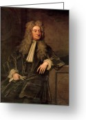 Male Portraits Greeting Cards - Sir Isaac Newton  Greeting Card by Sir Godfrey Kneller
