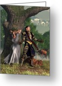 Camelot Greeting Cards - Sir Justinus The Singing Knight Greeting Card by Daniel Eskridge