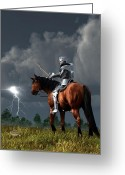 Chivalry Greeting Cards - Sir Lightning Rod Greeting Card by Daniel Eskridge