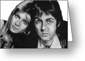 Paul Mccartney Drawings Greeting Cards - Sir Paul and Lady Linda Greeting Card by Sheryl Unwin