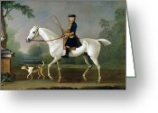 Beagle Greeting Cards - Sir Roger Burgoyne Riding Badger Greeting Card by James Seymour