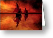 Sailboat Picture Greeting Cards - Siren Song Greeting Card by Corey Ford