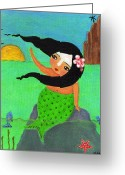 Island Cultural Art Greeting Cards - Sirena Bye Bye Birdies Greeting Card by Jennifer R S Andrade