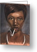 Originals Pastels Greeting Cards - Sister with Cigarette Greeting Card by L Cooper