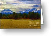 Diane Berry Digital Art Greeting Cards - Sisters Cascade Range Greeting Card by Diane E Berry