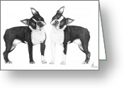 Terriers Greeting Cards - Sisters from Boston Greeting Card by Murphy Elliott