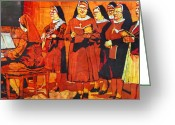 Christian Tapestries - Textiles Greeting Cards - Sisters Greeting Card by Kelly McNeil