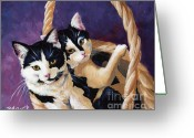 Cat Eyes Greeting Cards - Sisters Greeting Card by Pat Burns