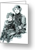 Happy Drawings Greeting Cards - Sisters Greeting Card by Ramneek Narang