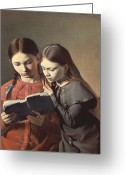 Shoulder Painting Greeting Cards - Sisters Reading a Book Greeting Card by Carl Hansen