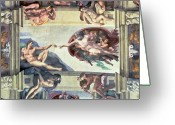 Renaissance Greeting Cards - Sistine Chapel Ceiling Creation of Adam Greeting Card by Michelangelo