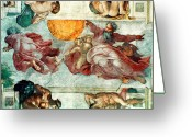 Genesis Greeting Cards - Sistine Chapel Ceiling Creation of the Sun and Moon Greeting Card by Michelangelo