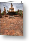 Faith Greeting Cards - Sitting Buddha Greeting Card by Adrian Evans