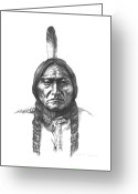 Framed Drawings Greeting Cards - Sitting Bull Greeting Card by Lee Updike