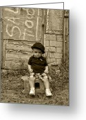 Little Boy Photo Greeting Cards - Sitting by the Shed Greeting Card by Ken Smith