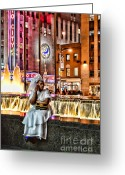 White Dress Greeting Cards - Sitting by the water -  NYC Greeting Card by Paul Ward