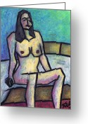 In The Nude Greeting Cards - Sitting Nude Greeting Card by Kamil Swiatek