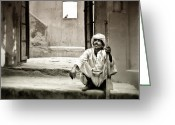 Mostafa Moftah Greeting Cards - Sitting on Stairs Greeting Card by Mostafa Moftah