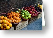 Tangerines Greeting Cards - Six Baskets Of Assorted Fresh Fruit Greeting Card by Todd Gipstein