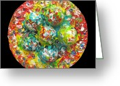 Square Sculpture Greeting Cards - Six  Colorful  Eggs  On  A  Circle Greeting Card by Carl Deaville