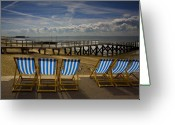 Beach Greeting Cards - Six empty deckchairs Greeting Card by Sheila Smart