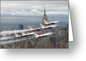 Vapor Greeting Cards - Six F-16 Fighting Falcons With The U.s Greeting Card by Stocktrek Images