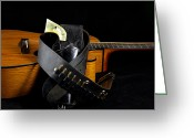 Acoustic Guitar Greeting Cards - Six Gun and Guitar on Black Greeting Card by M K  Miller